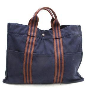 Authentic Hermes Tote Bag Navy Blue Canvas 268H399